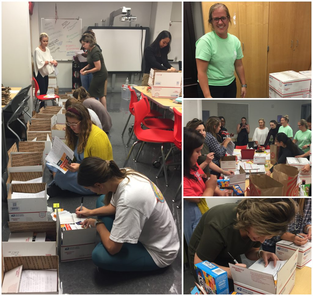 Junior League volunteers helped shop for, create, and ship out our alumnae care packages.